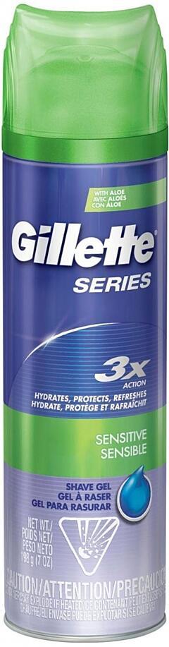 Gillette Series 3x Action Sensitive gel na holení 200 ml